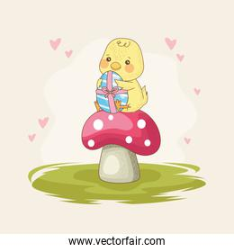 happy easter card with baby chick with egg painting in fungus
