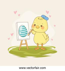 happy easter card with baby chick painting egg