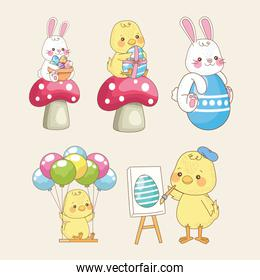 happy easter card with baby chicks and rabbits group
