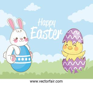 happy easter card with rabbit and chick and eggs painted