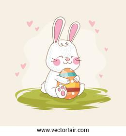happy easter card with rabbit and egg painted