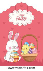 happy easter card with rabbit and chick lifting eggs painted