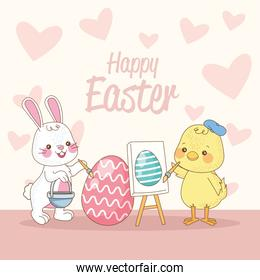 happy easter card with rabbit and chick painting eggs
