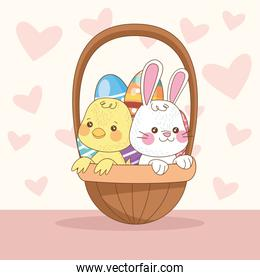 happy easter card with rabbit and chick in basket