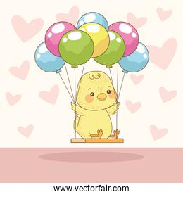 happy easter card with baby chick in balloons helium