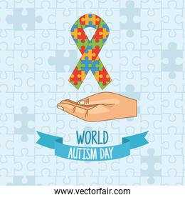 world autism day with hand lifting ribbon puzzle