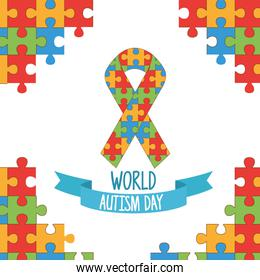world autism day with ribbon puzzle pieces