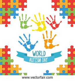 world autism day with hands painted and puzzle pieces