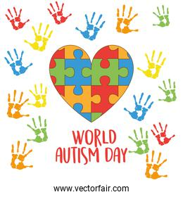 world autism day with heart puzzle