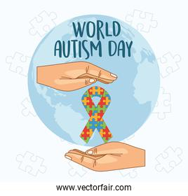 world autism day with hands lifting ribbon puzzle