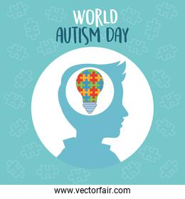world autism day with profile and bulb puzzle