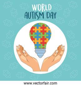 world autism day with hands lifting puzzle bulb