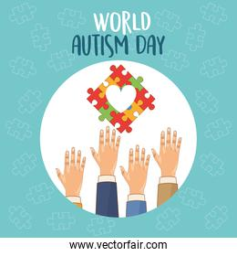 world autism day with hands and puzzle heart