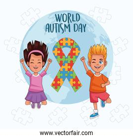 world autism day kids with world planet and ribbon puzzle