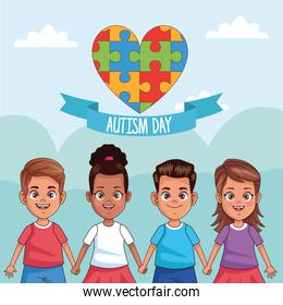 world autism day kids with heart puzzle