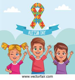 world autism day kids with ribbon puzzle