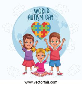world autism day kids with world planet and heart puzzle