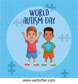 world autism day boys with puzzle pieces