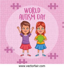 world autism day girls with puzzle pieces