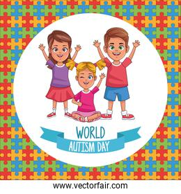 world autism day kids with puzzle pieces