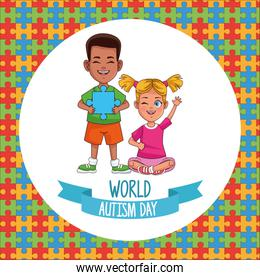 world autism day kids couple with puzzle pieces