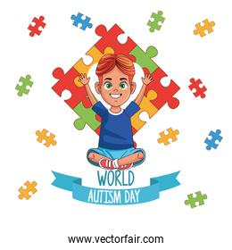 world autism day boy with puzzle pieces