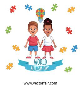world autism day kids couple with puzzle bulb