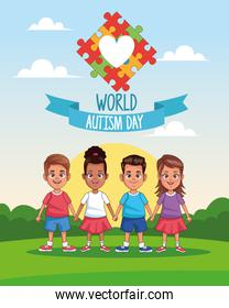 world autism day kids with heart puzzle in landscape