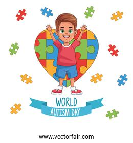 world autism day boy with puzzle heart
