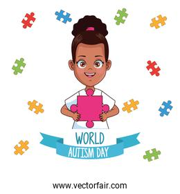 world autism day girl with puzzle pieces