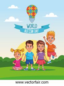world autism day kids with puzzle bulb in landscape