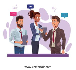 young business people talking workers characters