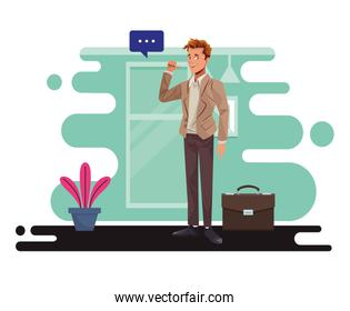 young businessman talking worker character