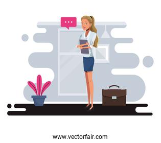 young businesswoman talking worker character