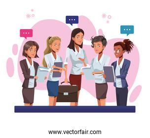 young businesswomen talking workers characters
