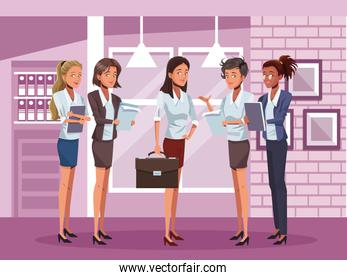 young business women workers characters