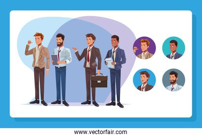 young business men workers characters