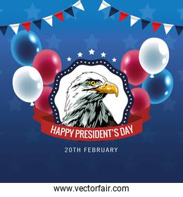 happy presidents day poster with eagle and balloons helium
