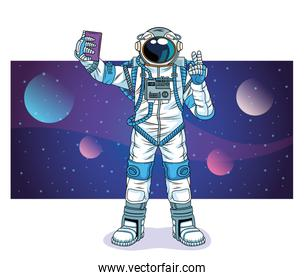 astronaut taking a selfie in the space character