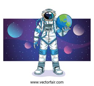 astronaut lifting earth planet in the space character