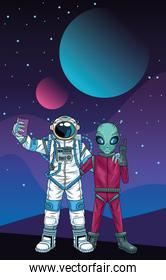 astronaut and alien taking a selfie in the space