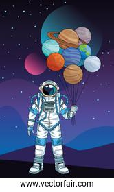 astronaut with planets in the space character
