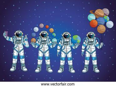 group of astronauts in the space characters