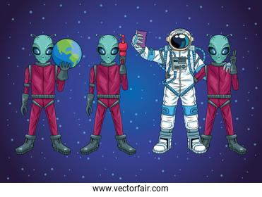 astronaut and aliens taking a selfie in the space