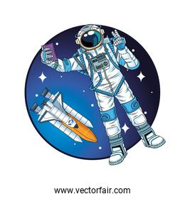astronaut with rocket in the space character