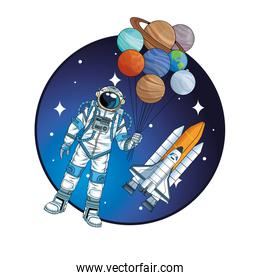 astronaut with rocket and planets in the space character