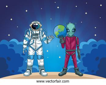astronaut and alien in the space characters scene