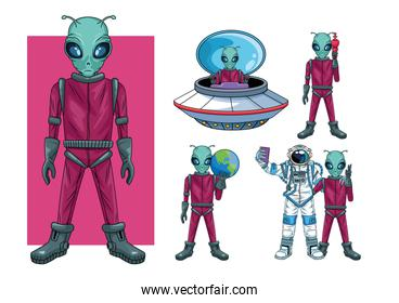 aliens and astronaut in the space characters