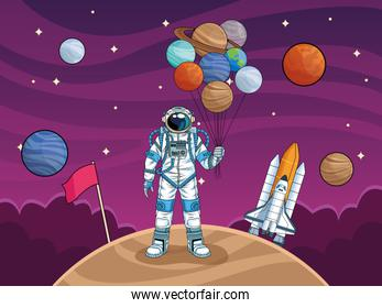 astronaut with rocket and planets in the space