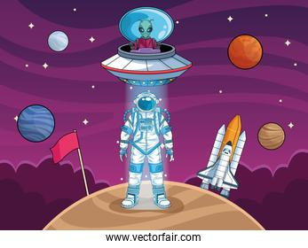 astronaut with ufo and planets in the space